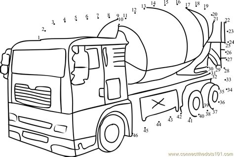 printable dot to dot truck connect the dots cement mixer transporation
