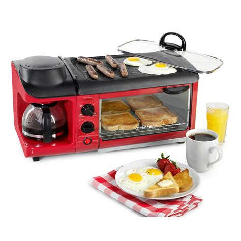 nostalgie toaster nostalgia retro series 4 slice 3 in 1 breakfast station
