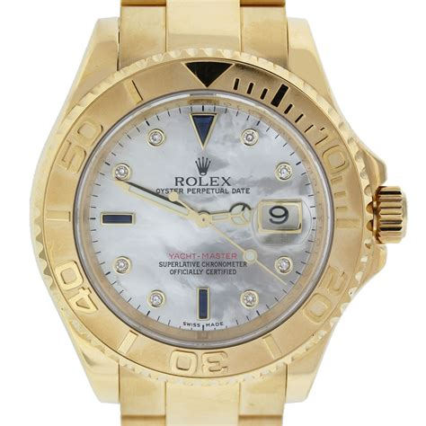 yacht watch rolex yacht master 16628 18k mother of pearl sapp dia dial