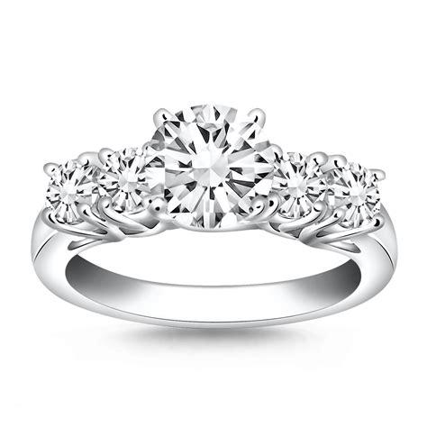 stone diamond trellis engagement ring   white