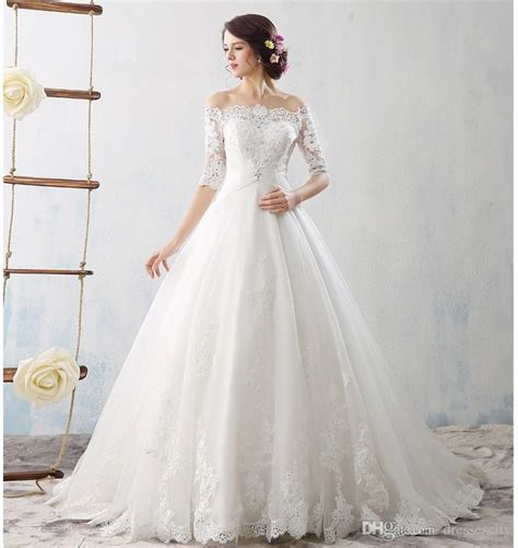 boat neck ball gown wedding dress discount designer boat neck soft lace applique ball gown