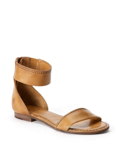 ankle sandals frye carson leather ankle zip sandals in brown lyst