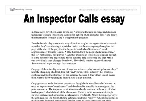 What Is A Call To In An Essay by Inspector Calls Essay Guide