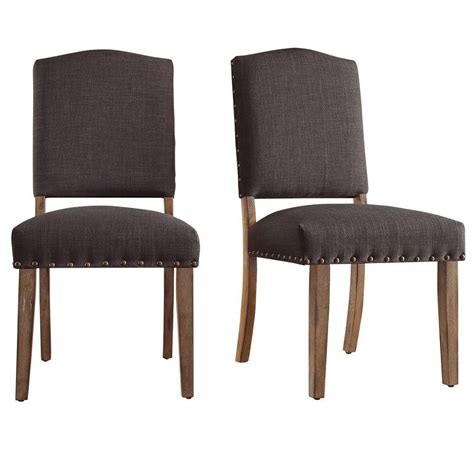 Home Depot Dining Chairs Homesullivan Bunker Hill Charcoal Linen Dining Chair Set Of 2 40e205c Dgl2pc The Home Depot