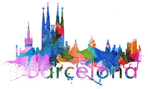 watercolor tattoo barcelona barcelona city skyline watercolor wall print
