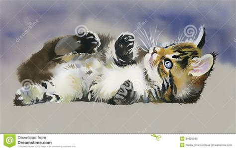 watercolor animal collection cat stock illustration