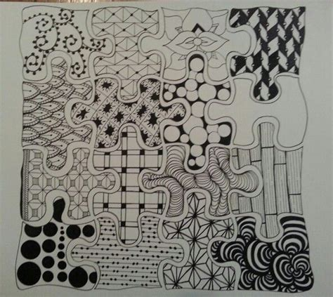 pattern drawing puzzle homage to autism drawing by christi herrejon zentangle