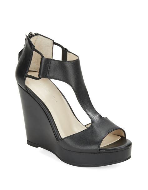 s wedge shoes kenneth cole hayley leather platform wedge sandals in
