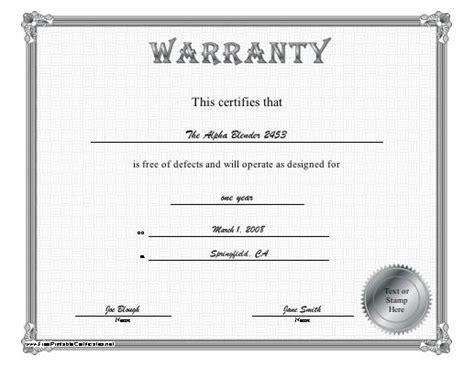 warranty certificate template free a silver bordered certificate of warranty certifying that