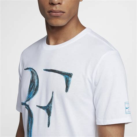 Rf T Shirt White nike mens rf t shirt white neo turquoise tennisnuts