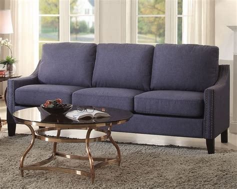 Blue Linen Sofa by Zapata Blue Linen Sofa With Nailhead Trim By Acme