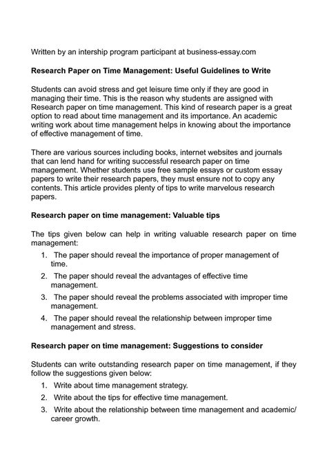 calam 233 o research paper on time management useful