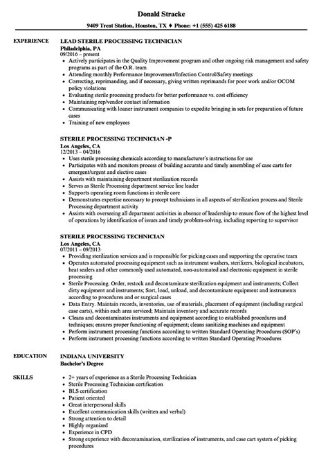sle resume for sterile processing technician sterile processing resume resume ideas