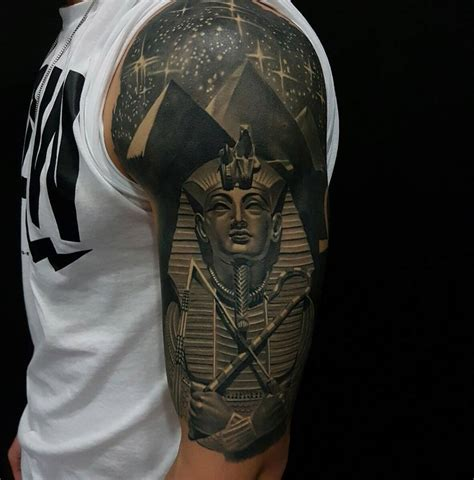 egyptian tattoo sleeve tutankhamun pyramids half sleeve best