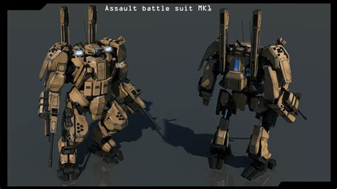 battle suit front and back assault battle suit mk1 finished by
