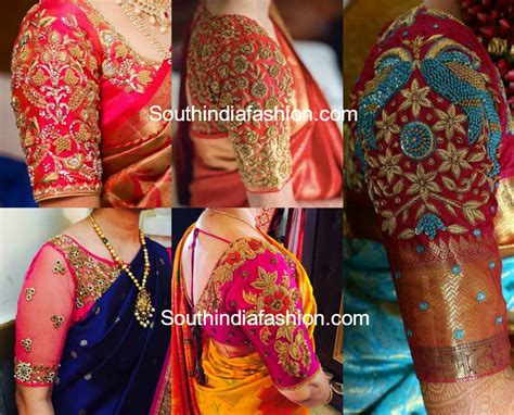 Sleeve Embroidery Blouse sleeves embroidery blouse designs for kanchipuram