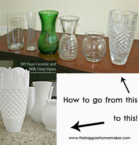How To Paint A Ceramic Vase by Diy White Faux Ceramic And Milk Glass Vases The Happier
