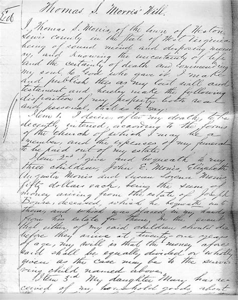 Lewis County Court Records Will Of S Morris Lewis County Wvgenweb