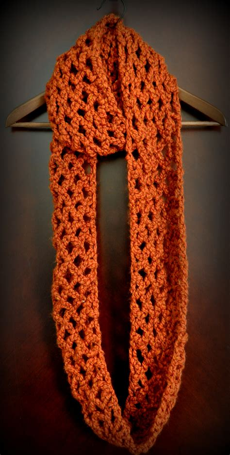 How To Crochet An Infinity Scarf Free Pattern Lattice Chain Crochet Infinity Scarf
