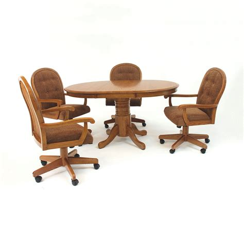 Dining Chair On Casters Mastercraft Gs Furniture Edgewood 42 In Pedestal Dining Table Set With Classic Caster Chairs