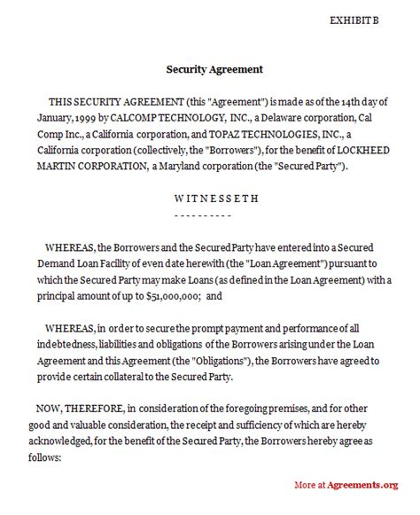 Security Agreement Agreements Business Legal Agreements Ucc Security Agreement Template