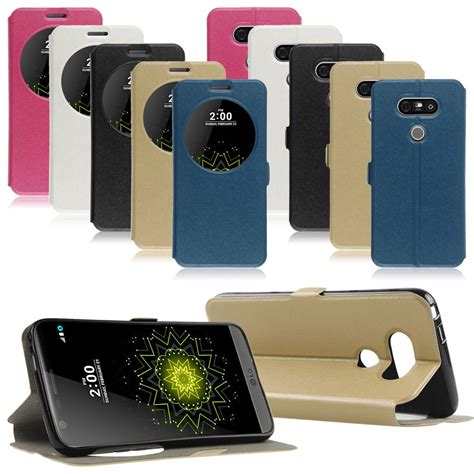 Leather Flip Cover Lg K4 Ume Circle View Window Leather Flip Stand Cover For