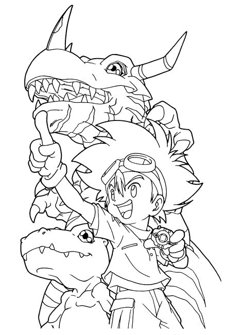 free printable digimon coloring pages for kids