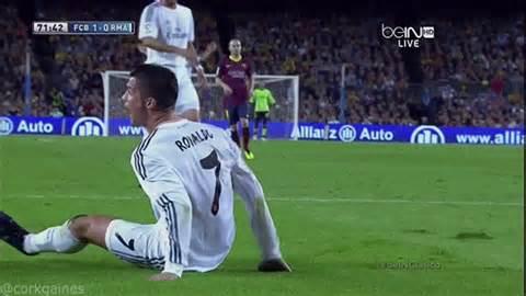 ronaldo juventus goal gif gif barcelona wins el clasico thanks to a controversial tackle that denied ronaldo a goal