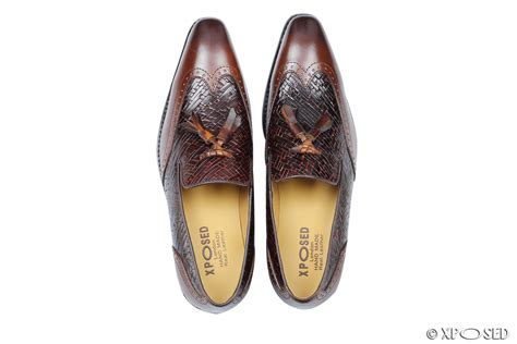mens brown real leather tassel loafers smart wingtip brogue slip on dress shoes ebay