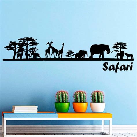 safari wall decal vinyl sticker decals home decor mural safari tree animals giraffe