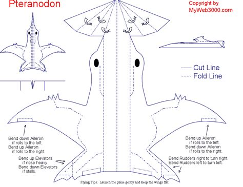 How To Make A Paper Flying Dinosaur - myweb3000 pteranodon plane