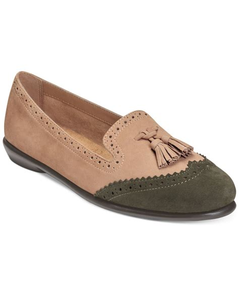 mens oxford loafers aerosoles winning bet oxford loafers in green taupe