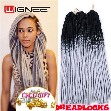 pre dreaded hair extensions 20 inch ombre black grey color faux locs crochet braids