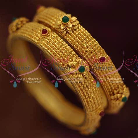 Handmade Bangles Designs - b7082 one gram handmade kemp floral design copper