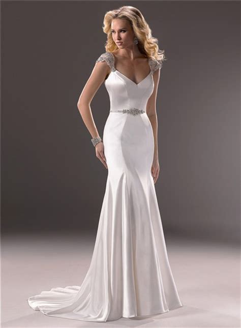 mermaid v neckline open back satin wedding dress with