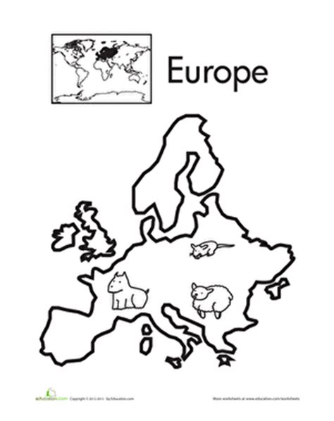 coloring pages map europe learning about the continents free printables and