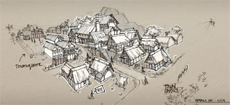 Small Cottage Plans by Medieval Town Sketch By Sourshade On Deviantart