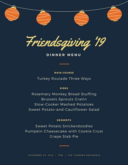 Friendsgiving Menu Template Modern Friendsgiving Lantern Thanksgiving Dinner Menu Templates By Canva