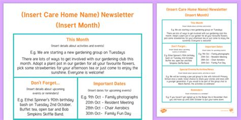 Care Home Newsletter Writing Template Care Home Newsletter Upcoming Events Newsletter Template