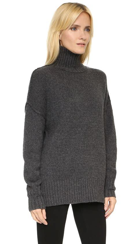 nlst oversize turtleneck sweater in gray lyst