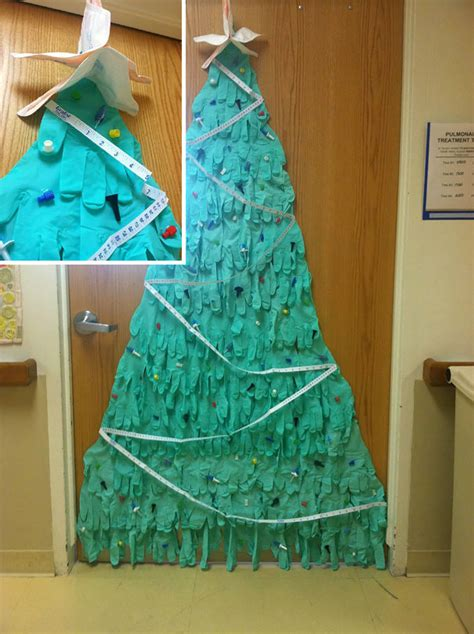 rubber glove christmas tree 25 hospital decorations that show staff are the most creative