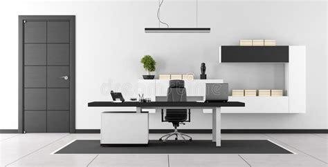 bureau moderne blanc bureau moderne noir et blanc illustration stock