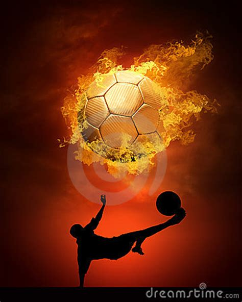 soccer ball  fire stock photography image