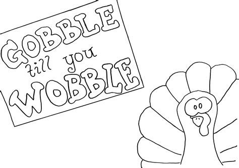 turkey waddle coloring page gobble til you wobble tray project by decoart
