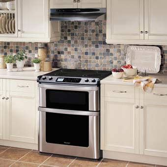 Oven Gas Sharp sharp kb4425l 30 inch slide in electric range with microwave drawer auto drawer opening true