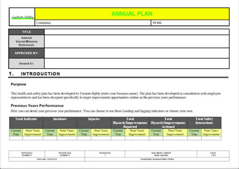 ohs annual plan template