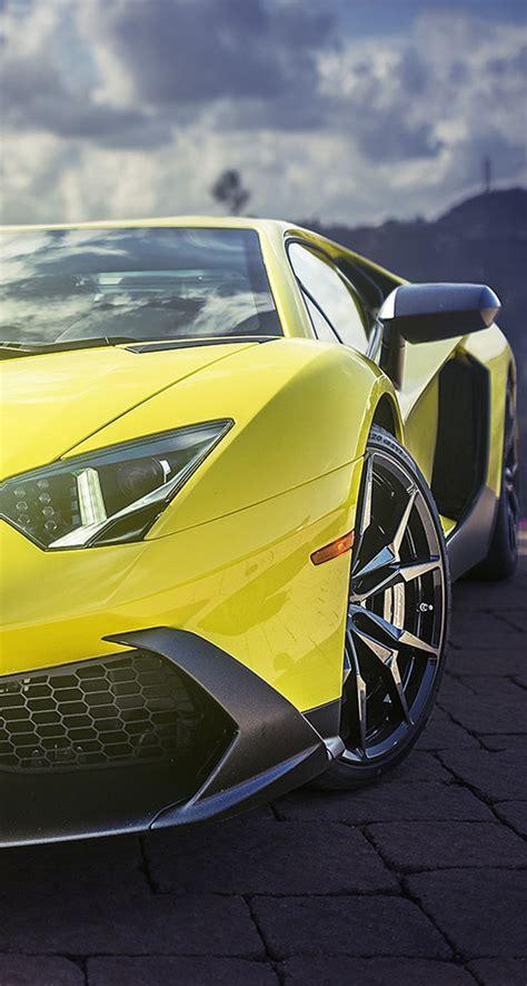 yellow lamborghini aventador supercar  iphone wallpapers