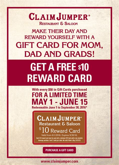 Claim Jumper Gift Card - claim jumper get a free 10 00 reward card with every 50 00 gift card purchased