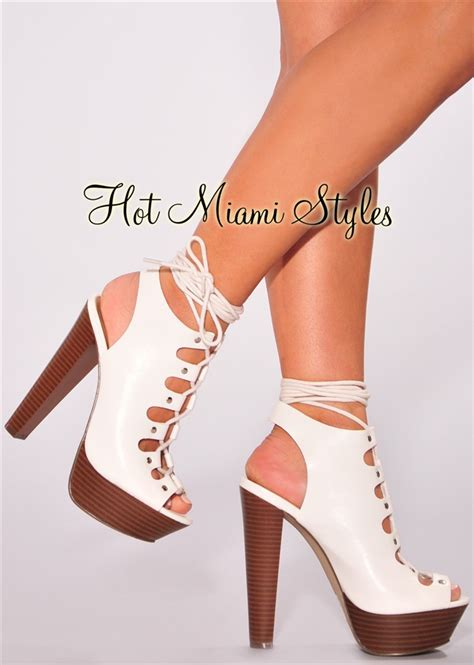 Faux Leather High Heel Sandals white faux leather lace up wooden high heel sandals