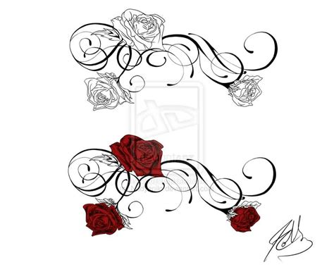 roses swirls tattoos sample